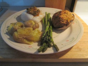 Baked Cod and Tomato Pesto w Baked Stuffed Clams 007
