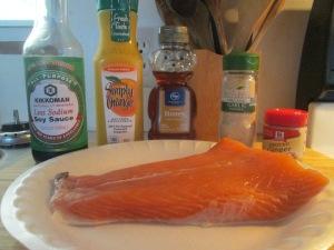 Baked Ginger Honey Glazed Salmon  w Sugar Snap Peas and Sliced C 001