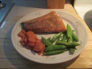 Baked Ginger Honey Glazed Salmon  w Sugar Snap Peas and Sliced C 017
