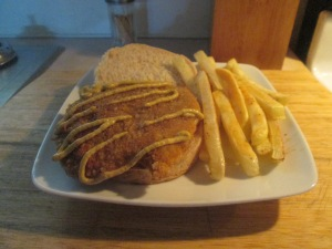Cubed Pork Steak Sandwich w Baked Fries 002