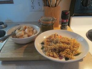 Shrimp, Tomato Pesto Sauce, Whole Grain Rotini, and Baked French 004