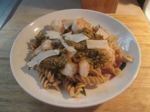 Shrimp, Tomato Pesto Sauce, Whole Grain Rotini, and Baked French 011