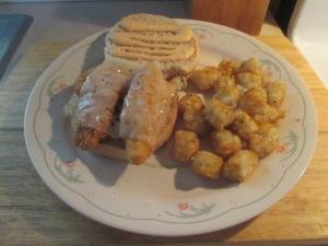 Swiss and Chicken Sandwich w Baked Potato Puffs 007