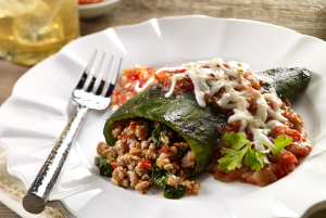 Turkey and Spinach Chile Relleno with Fresh Tomato Sauce