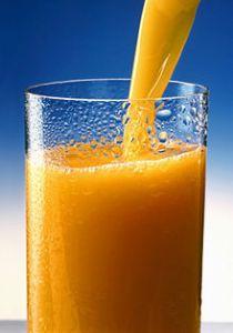 A glass of pulp-free orange juice