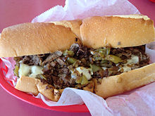 A cheesesteak sandwich