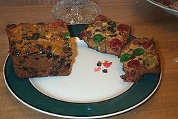 Traditional American fruit cake with fruits and nuts.