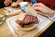 A pastrami sandwich from Katz's Delicatessen