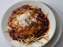 A Cincinnati chili 5-way over spaghetti