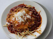 A Cincinnati chili 5-way over spaghetti