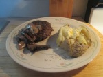 Bison Chopped Sirloin Steak Sauteed Mushrooms and Baked Potato001
