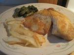 Crispy Pan Fried Tilapia Sliced Potatoes and Asparagus006