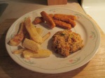 Fish Sticks, Maryland Style Crab Cakes, and Steak Fries 014