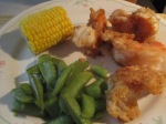 Fried Freshwater Shrimp Snap Peas corn cob 005