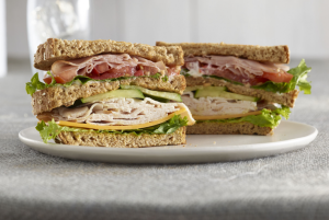 2 ounces JENNIE-O® DELI FAVORITES® GRAND CHAMPION® Reduced Sodium Oven  Roasted Turkey Breast, thinly sliced from the service deli