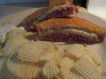 Grilled Pastrami and Swiss Sandwich Potato Chips015