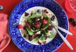 BUFFALO BACON, BERRY and BLUE CHEESE SALAD WITH HOT BACONVINAIGRETTE