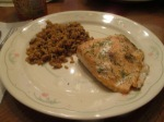 Baked Salmon Whole Grain Brown and Wild Rice in plate