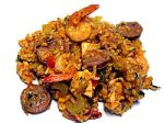 Jambalaya with chicken, andouille sausage, rice, shrimp, celery andspices