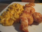 Freshwater Shrip and Mac Cheese inplate
