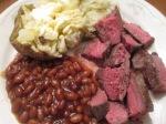 6 oz. Buffalo Sirloin Steak Baked Beans, Baked Potato1
