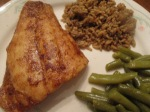 Blackened Red Snapper Cut Green Beans, Brown and Wild Rice inplate