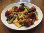 Italian Pasta Salad Hardwood Smoked Turkey Sausage in bowl on board1