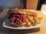 """""""Not So Sloppy"""" Turkey Joes sandwich crinkle fries inplate"""